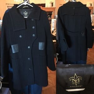 MACKAGE tweed leather details black peacoat
